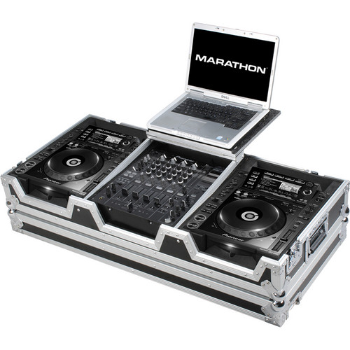 "Marathon MA-CDJ2K12WLT Coffin Case for 2 CD Players and 12"" Mixer With Laptop Shelf (Black and Chrome)"
