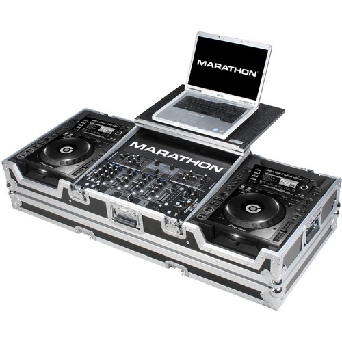 "Marathon MA-CDJ2K19WLT Coffin Case for 2 CD Players and 19"" Mixer With Laptop Shelf (Black and Chrome)"