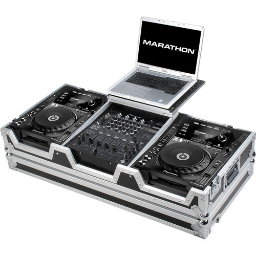 "Marathon MA-CDJ9H12WLT Coffin Case for 2 CD Players and 12"" Mixer With Laptop Shelf (Black and Chrome)"
