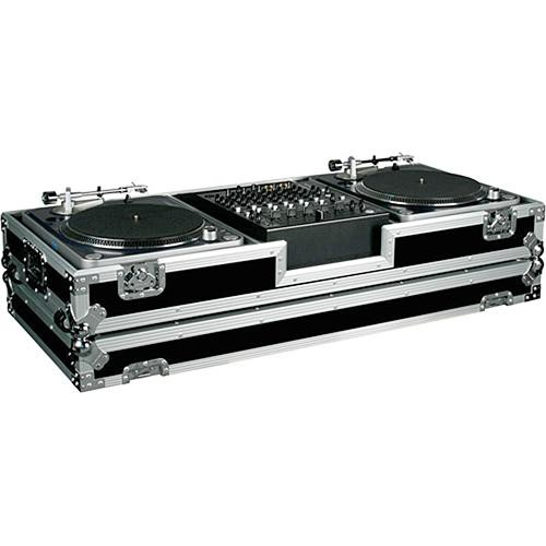 Marathon MA-DJ12W-BATTLE  Flight Road Coffin Case (Black and Chrome)