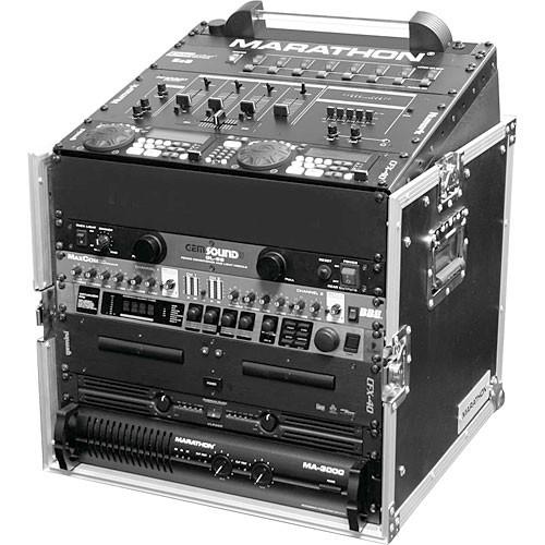 Marathon MA-M10U Flight Road 10U Slant Mixer Rack Combo Case (Black and Chrome)
