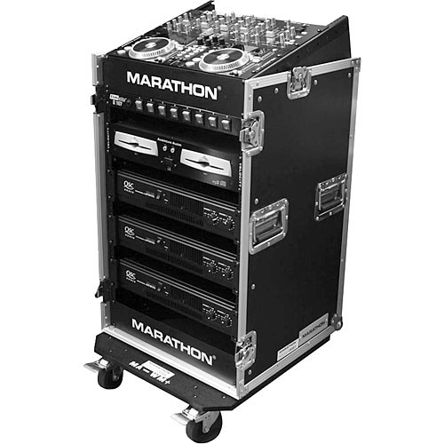 Marathon MA-M14UW Flight Road Slant Mixer Rack Combo w/ Caster Board Case