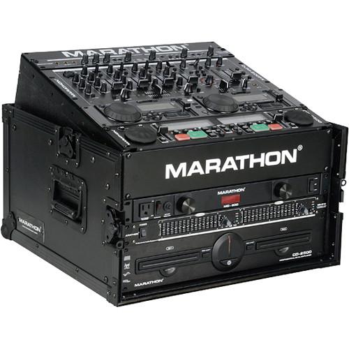 Marathon MA-M4UBLK Flight Road 10U Slant Mixer Rack Combo Case (Black)