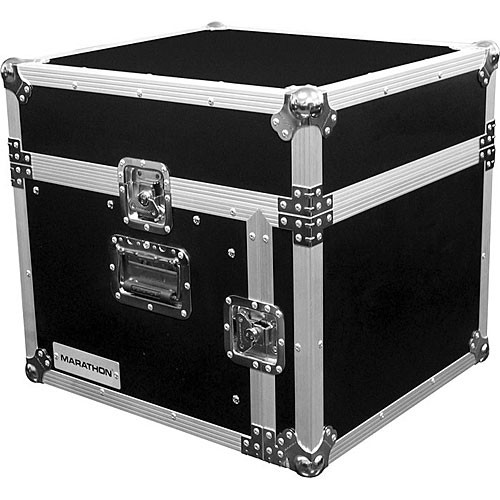 Marathon MA-M4U Flight Road 10U Slant Mixer Rack Combo Case (Black and Chrome)
