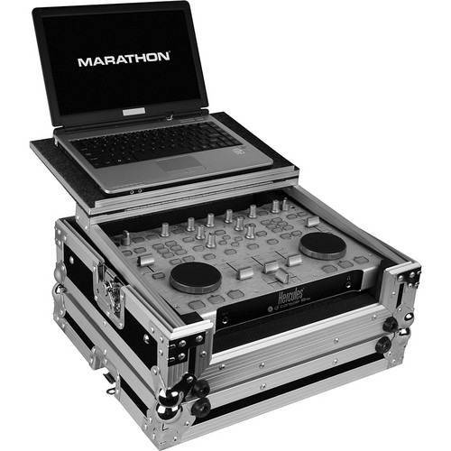 Marathon MA-RMXLT Flight Road Case with Laptop Shelf (Black and Chrome)