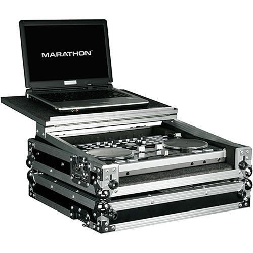 Marathon MA-VCILT Flight Road Music Controller Case w/ Laptop Shelf (Black and Chrome)