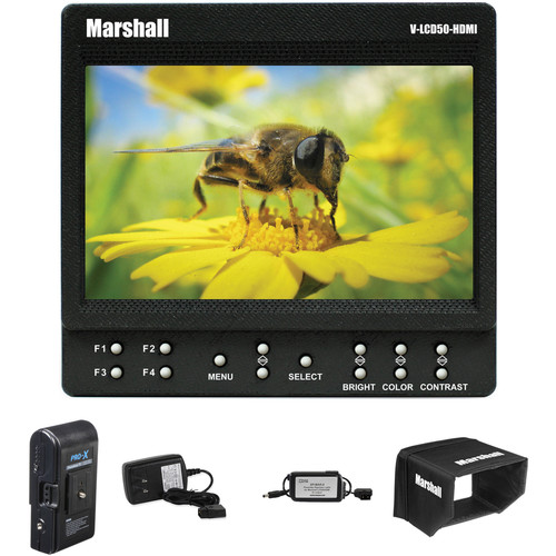 """Marshall Electronics 5"""" On-Camera HDMI Monitor w/ Switronix P-Tap Cable, Battery & Charger Kit"""