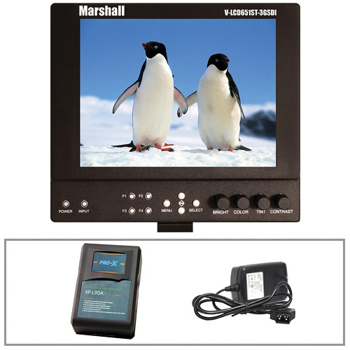 "Marshall Electronics 6.5"" On-Camera 3G-SDI LCD Monitor & Battery Power Kit (Anton Bauer Plate)"