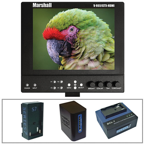 "Marshall Electronics V-LCD651STX-HDMI-SL 6.5"" On-Camera Field Monitor w/Series 7 Power Kit"
