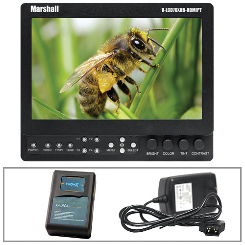 "Marshall Electronics V-LCD70XHB-HDMIPT-AB 7"" Field Monitor with Anton/Bauer Mount Power Kit"