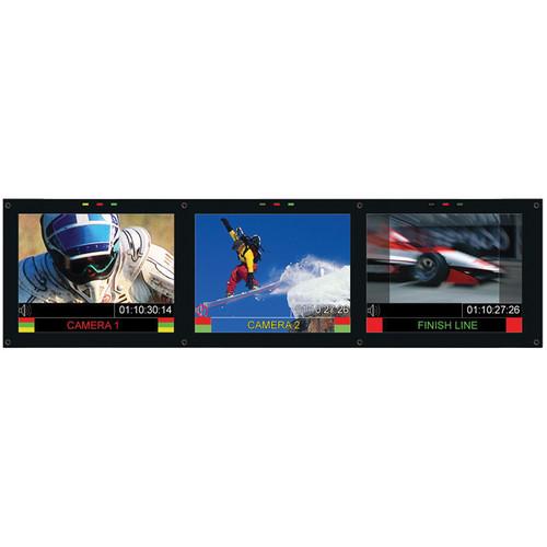 "Marshall Electronics Triple 6.5"" Rack Mounted Monitor Set with 3G/HD/SD-SDI"