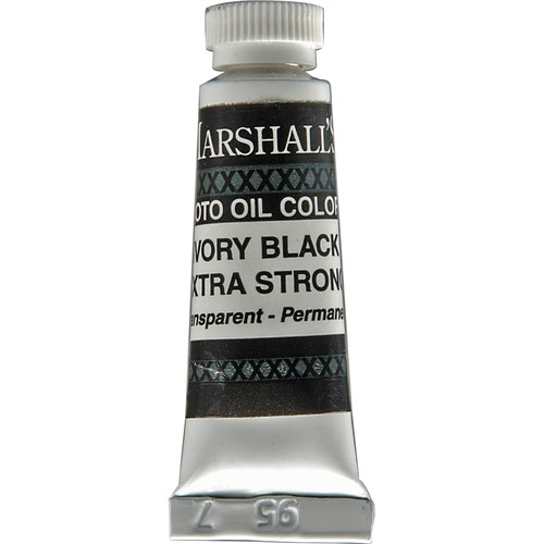 """Marshall Retouching Oil Color Paint/Extra Strong: Ivory Black - 1/2x2"""" Tube"""