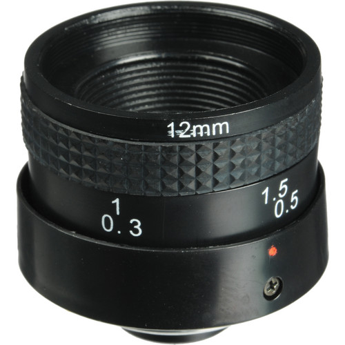 Marshall Electronics V-4512 12mm f/2.0 Fixed Iris C-Mount Industrial Lens for 1/3-Inch Auto-Shutter Cameras