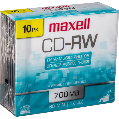 Maxell CD-RW 1-4x Rewritable Disc (10)