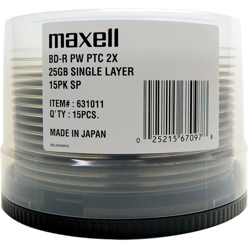 Maxell BD-R Blu-ray 25GB 2x Disc (Spindle Pack of 15)
