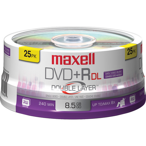 Maxell DVD+R 8.5GB, 8x Disc (25 Pack Spindle)