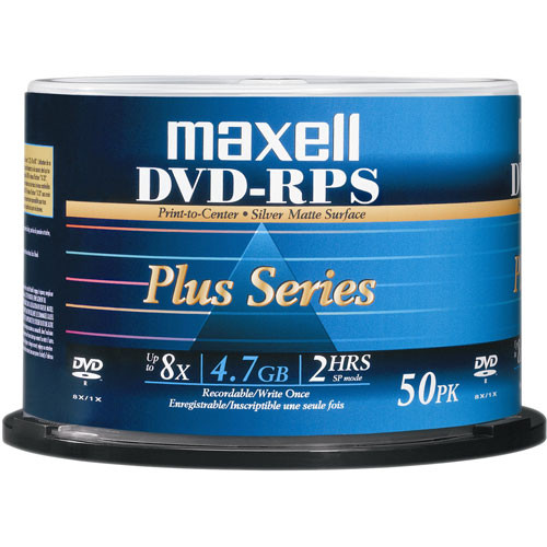 Maxell DVD-R Inkjet Printable Matte Silver Recordable Disc (Spindle Pack of 50)