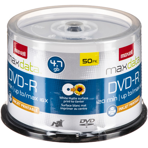 Maxell DVD-R Inkjet Printable Recordable Disc (Spindle Pack of 50)
