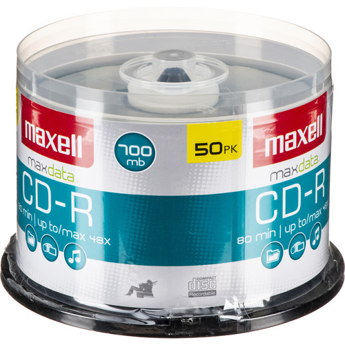Maxell CD-R 700MB Write Once Recordable Disc (Spindle Pack of 50)