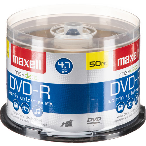 Maxell DVD-R 4.7GB Write-Once, 16x Recordable Disc (Spindle Pack of 50)