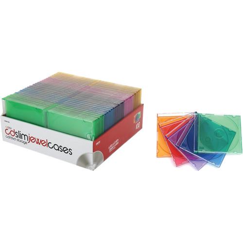 Merit Line 100-Pack CD Slim Jewel Cases (Multi-Color)
