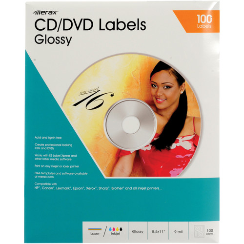 Merit Line CD/DVD Labels (Glossy, Pack of 50)