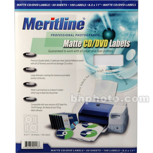 Merit Line Matte CD/DVD Labels (100)