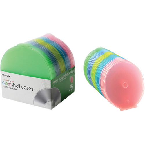 Merit Line 25-Pack CD Slim Clam Shell Cases (Multi-Color)