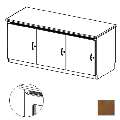 Middle Atlantic Credenza Rack Finishing Kit (Contemporary, 3 Bay, Smoked Plexiglass Doors)