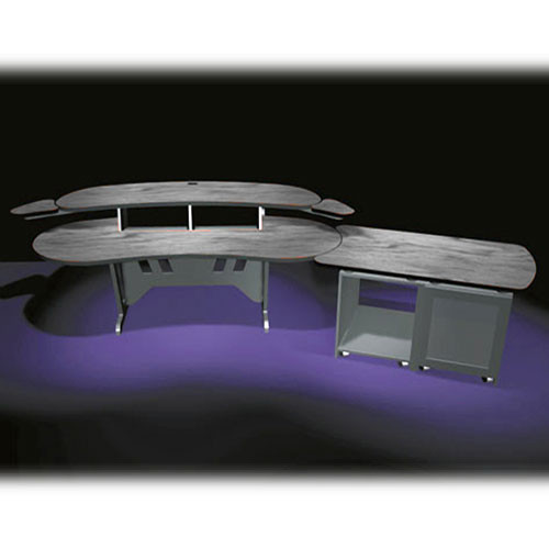 "Middle Atlantic ELUR+D12D-PS 84"" Edit Center Desk with Overbridge & Dual Bay Outboard Rack(Pepperstone)"