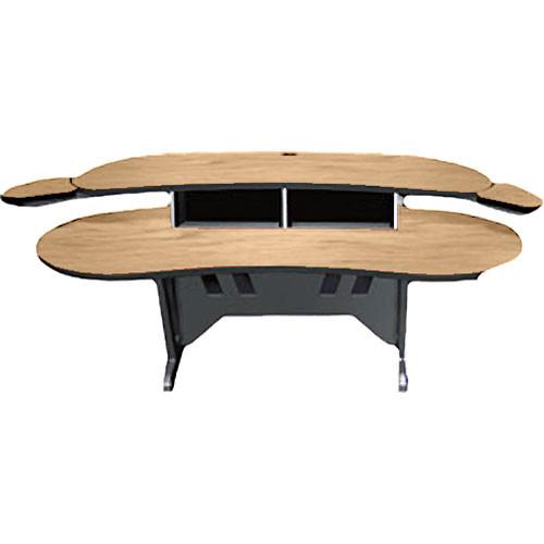 "Middle Atlantic ELUR-HM 84"" Edit Center Desk with Overbridge (Honey Maple)"