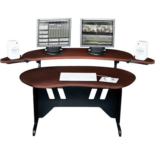 "Middle Atlantic EL-DC 84"" Edit Center Desk with Overbridge (Dark Cherry)"