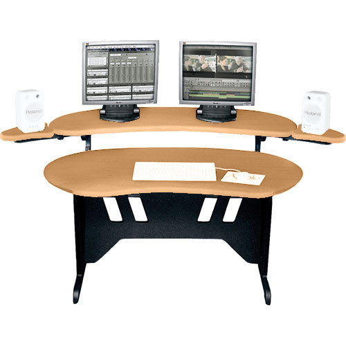 "Middle Atlantic EL-HM 84"" Edit Center Desk with Overbridge (Honey Maple)"