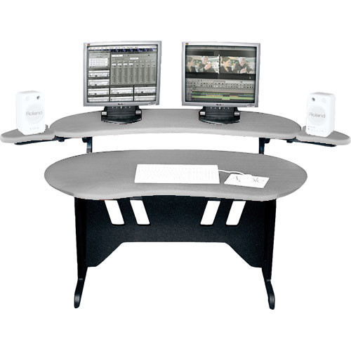"Middle Atlantic EL-PS 84"" Edit Center Desk with Overbridge (Pepperstone)"