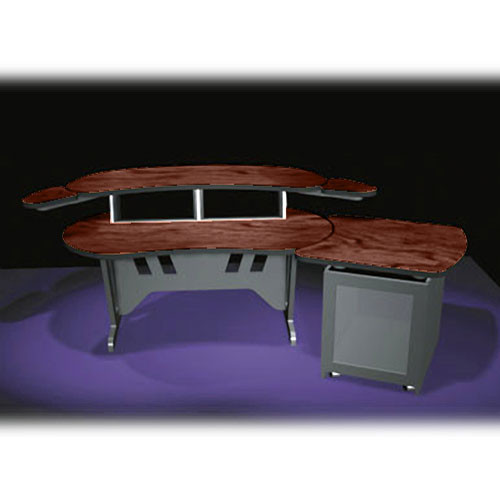 "Middle Atlantic ESUR+S12D-DC 60"" Edit Center Desk with Overbridge & 12 Space Rack (Dark Cherry)"