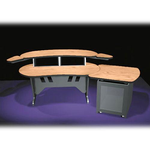 """Middle Atlantic ESUR+S12D-HM 60"""" Edit Center Desk with Overbridge & 12 Space Rack (Honey Maple)"""