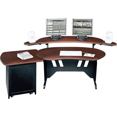 "Middle Atlantic ES+S12D-DC 60"" Edit Center Desk with Overbridge & 12 Space Rack (Dark Cherry)"