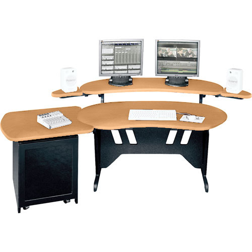 "Middle Atlantic ES+S12D-HM 60"" Edit Center Desk with Overbridge & 12 Space Rack (Honey Maple)"