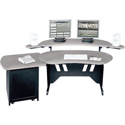 "Middle Atlantic ES+S12D-PS 60"" Edit Center Desk with Overbridge & 12 Space Rack (Pepperstone)"