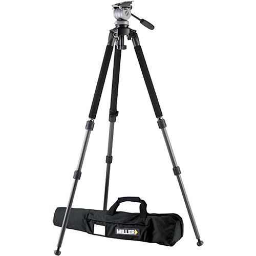 Miller DS-10 DV Fluid Head and Solo Aluminum Tripod with Pan Handle and Bag