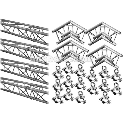 Milos M222 Trio QuickTruss Hanging Kit - includes: 4 Truss Sections, 2-Way 90 Degree Corners, Clamps with Lifting Eyes - 10.8 x 10.8'