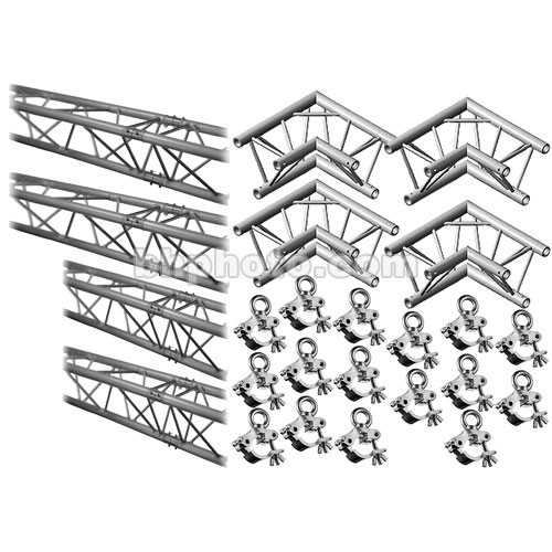 Milos M222 Trio QuickTruss Hanging Kit - includes: 4 Truss Sections, 2-Way 90 Degree Corners, Clamps with Lifting Eyes - 7.5 x 10.8'