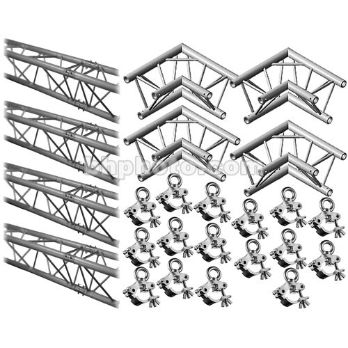 Milos M222 Trio QuickTruss Hanging Kit - includes: 4 Truss Sections, 2-Way 90 Degree Corners, Clamps with Lifting Eyes - 7.5 x 7.5'