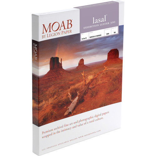 """Moab Lasal Exhibition Luster 300 Paper (8.5 x 11"""") 50 Sheets"""