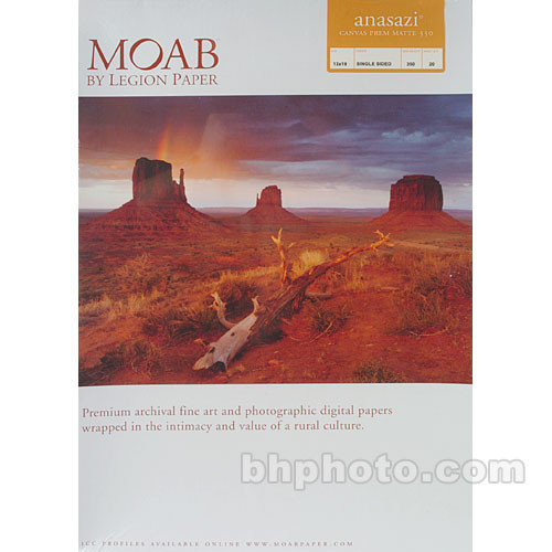 "Moab Anasazi Canvas Premium Matte 350 - 13x19"" - 20 Sheets"