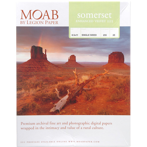 """Moab Somerset Enhanced Velvet 225 Archival Photo Inkjet Paper (8.5 x 11"""", 25 Sheets)"""