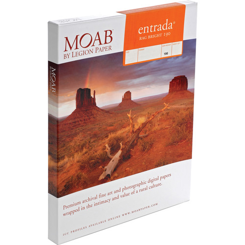 "Moab Entrada Rag Bright 190 Paper - (7 x 10"" , Scored, Matte, 25 Sheets)"