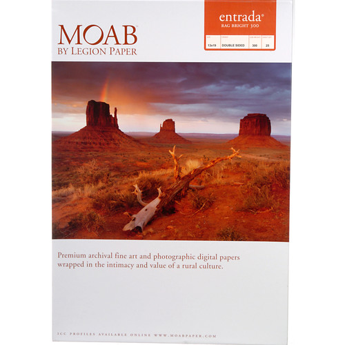 "Moab Entrada Rag Bright 300 Paper (13 x 19"", 25 Sheets)"