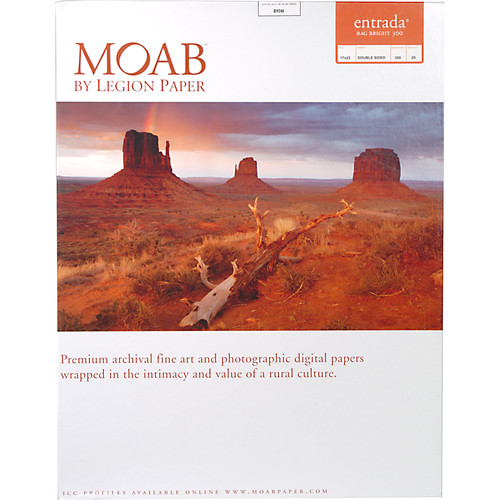 """Moab Entrada Rag Bright 300 Paper (Matte, 2-sided, 300 gsm) - 17x22"""" - 25 Sheets"""