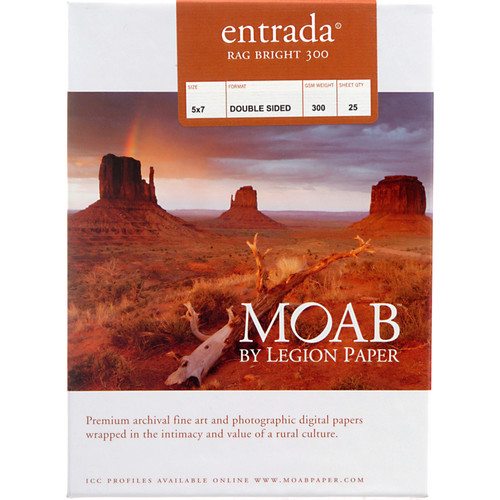 "Moab Entrada Rag Bright 300 Paper (Matte, 2-sided, 300 gsm) - 5x7"" - 25 Sheets"